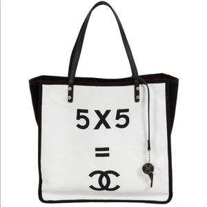 Chanel black and white canvas tote bag
